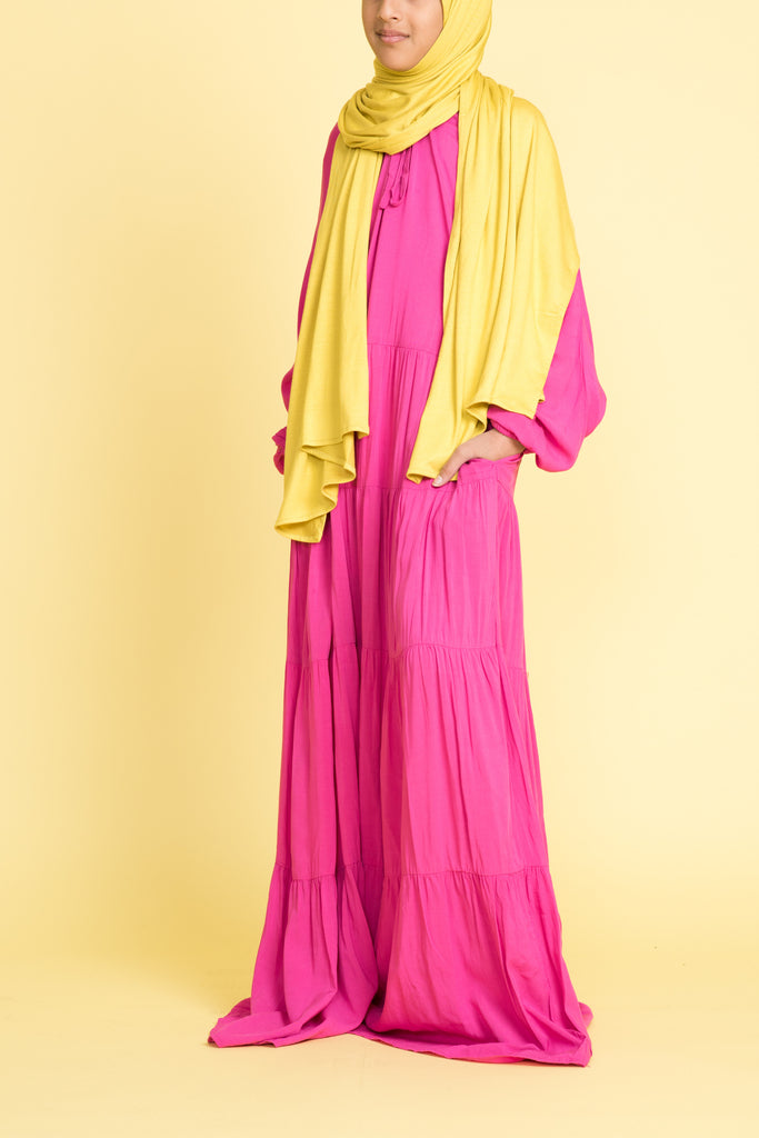 Girl's Punchy Pink Tiered Abaya