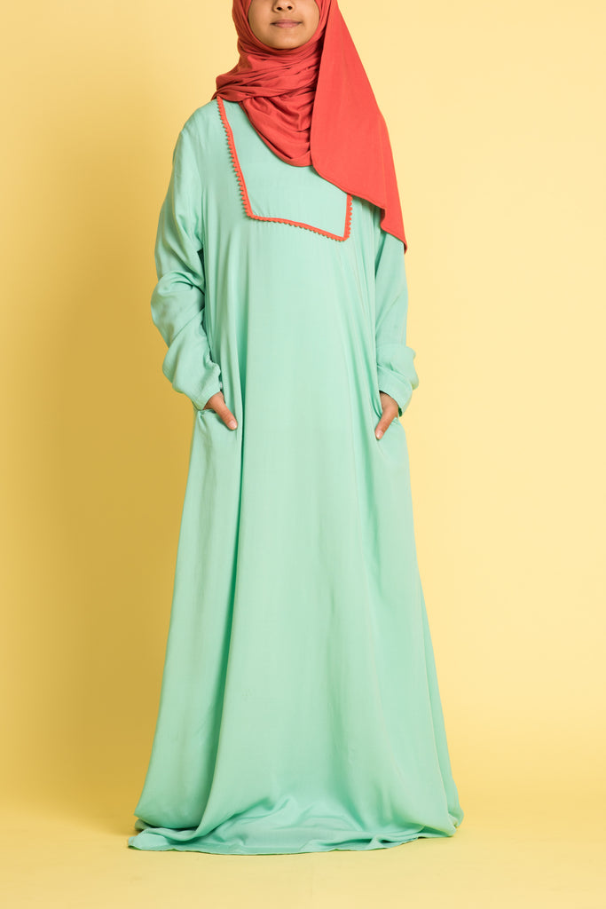 Girl's Sea Green Abaya