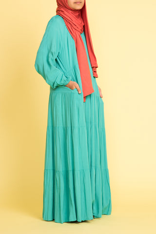 Girl's Trendy Teal Tiered Abaya