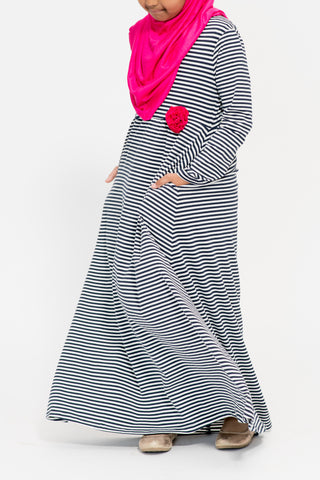 Girl's Navy Stripe Fuschia Corsage Abaya