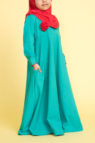 Little Girl's Teal Green Corsage Abaya