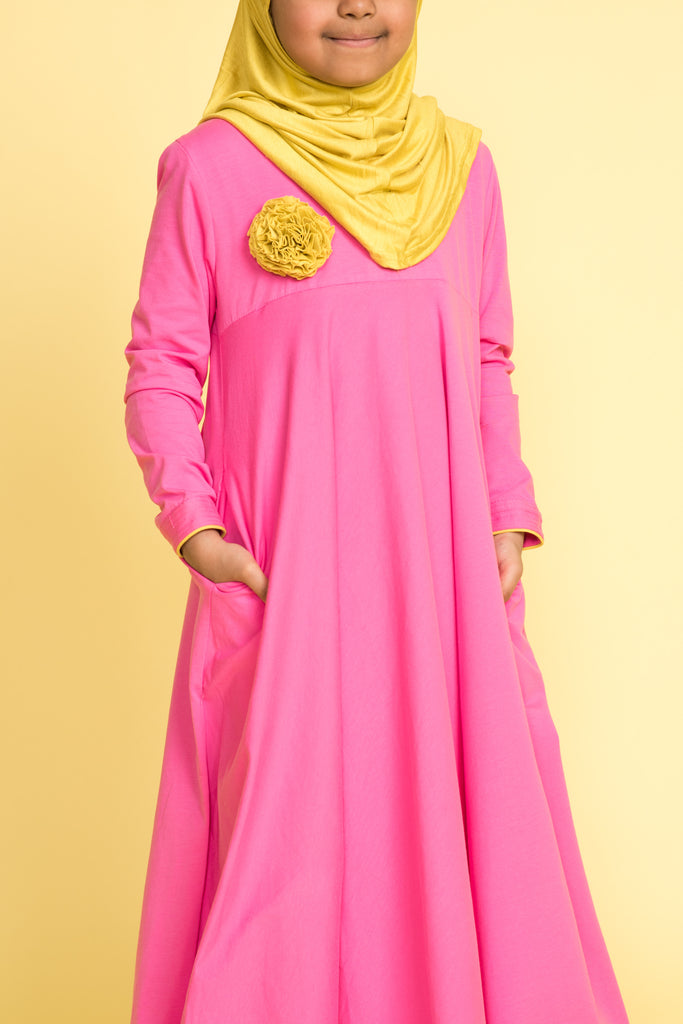 Little Girl's Pink Corsage Abaya