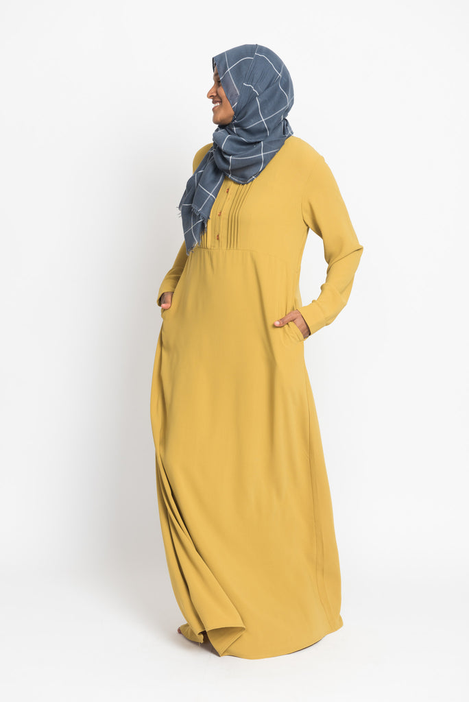 Maize Pintuck Pleated Crepe Jilbab