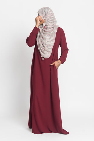Maroon Pintuck Pleated Crepe Jilbab
