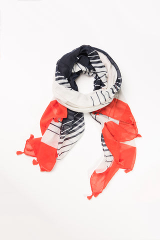 Orange and Navy Stripe Wrap Hijab