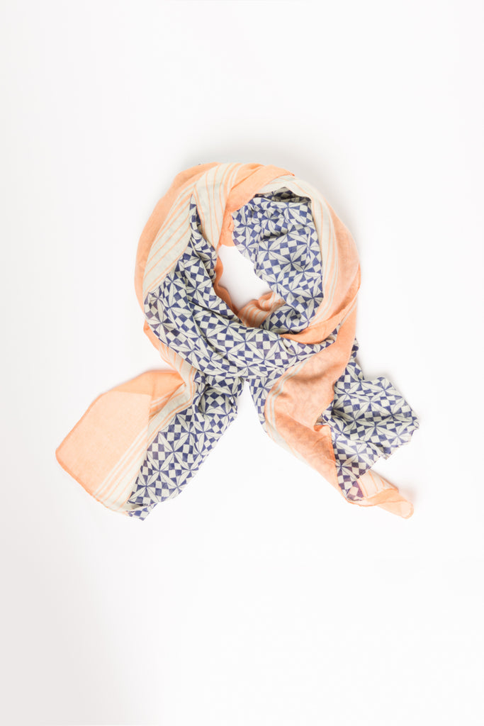 Navy and Peach Geo Wrap Hijab