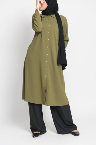 Moss Green Long Blouse
