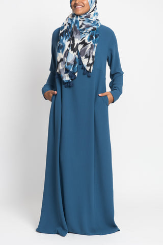 Slate Blue Pintuck Pleated Crepe Jilbab