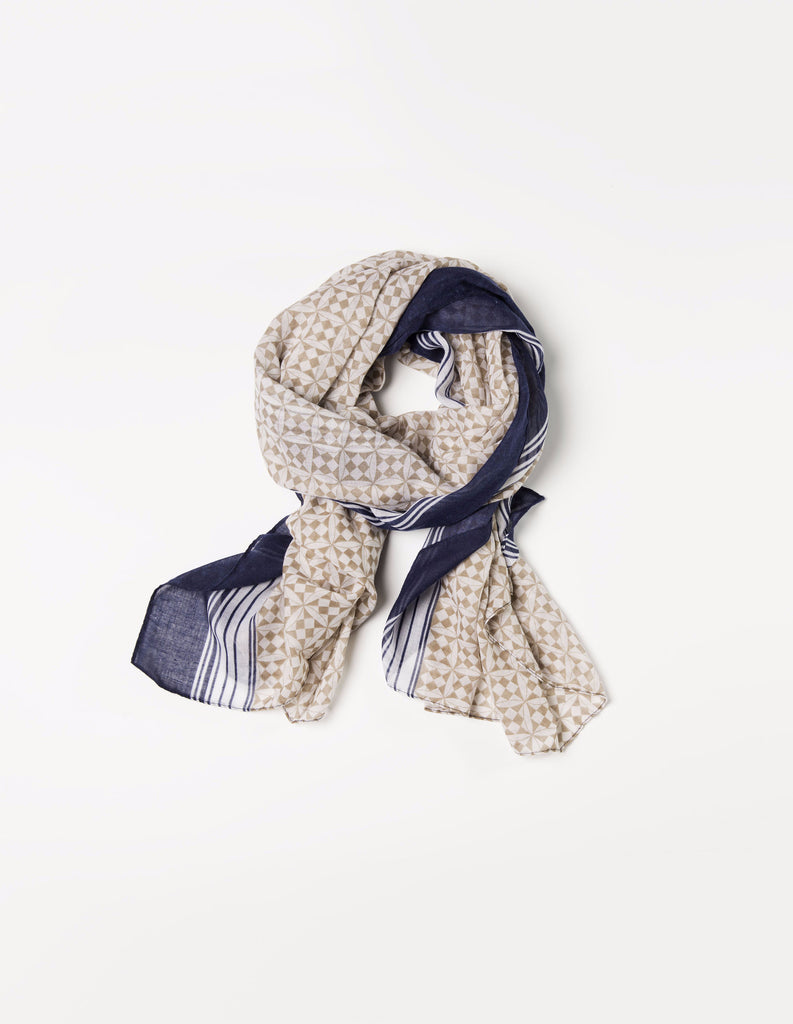 Tan and Navy Geo Wrap Hijab