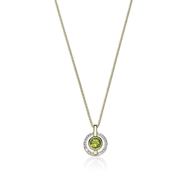 9ct YG round peridot & diamond halo pendant