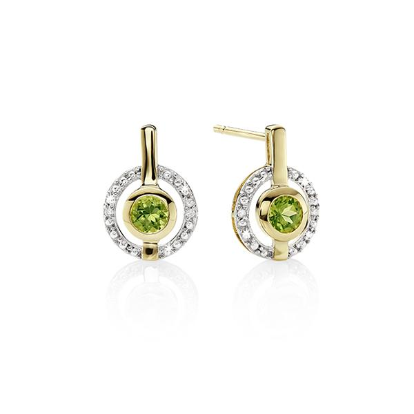 9ct YG round peridot & diamond halo studs