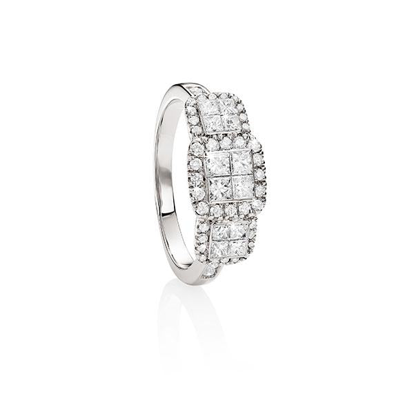 9ct white gold 1ct princess and round brilliant cut diamond ring