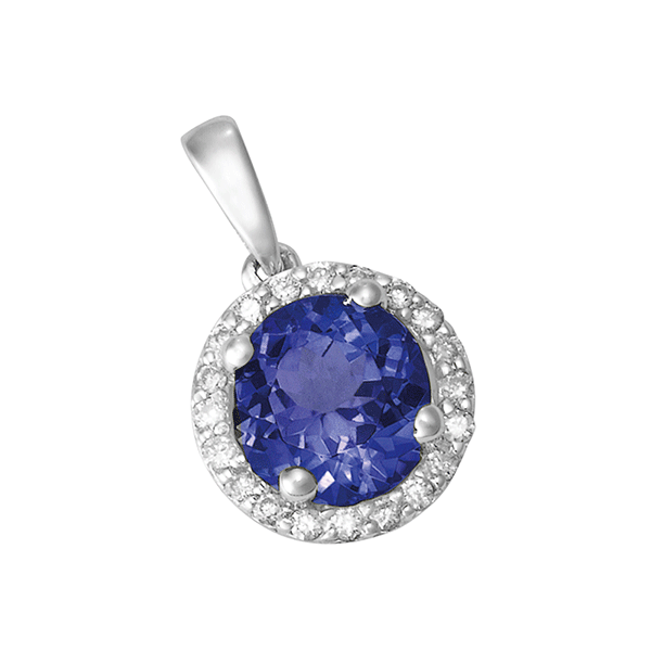 18ct Gold Round Tanzanite Pendant