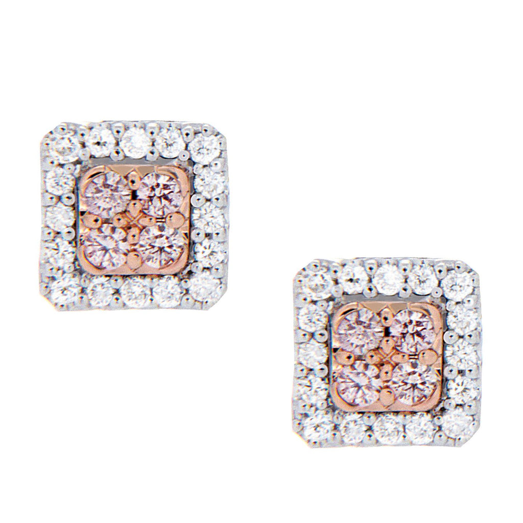 18ct Pink & White Dimond Studs