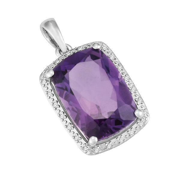 9ct White Gold Cushion Amethyst and  Round Brilliant-cut Diamond Pendant