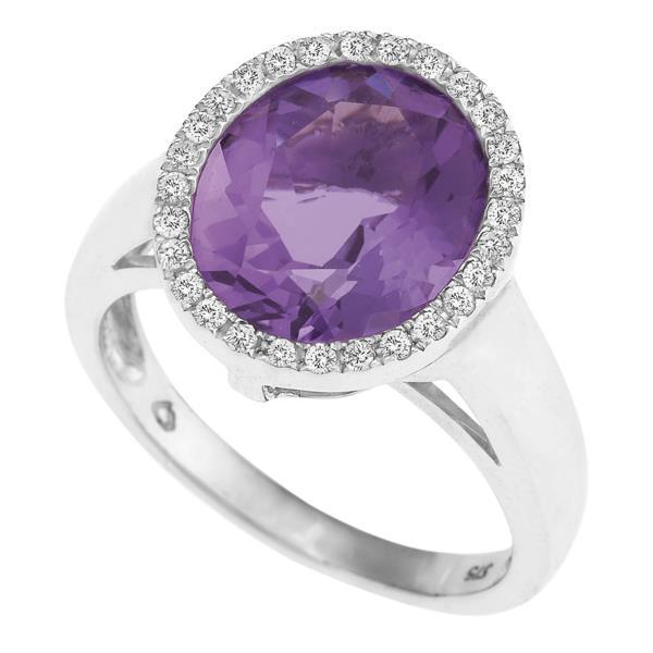 9ct White Gold Oval Amethyst and  Round Brilliant-cut Diamond Ring