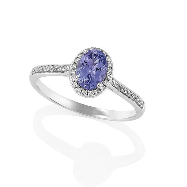 9ct White Gold Oval Tanzanite and Round Brilliant-cut Diamond Ring