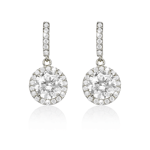 9ct White Gold Round Cubic Zirconia Halo Drop Earrings