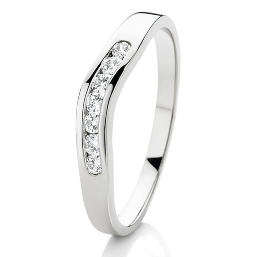 9ct White gold Curved Diamond  Band