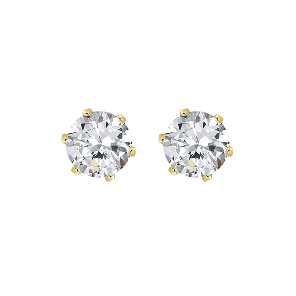 9ct claw-set 4.5mm round  cubic zirconia earrings