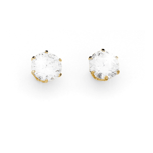 9ct claw-set 5.5mm round  cubic zirconia earrings