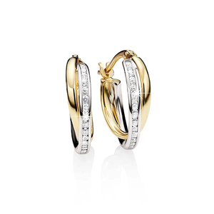 9ct gold cubic zirconia hoops