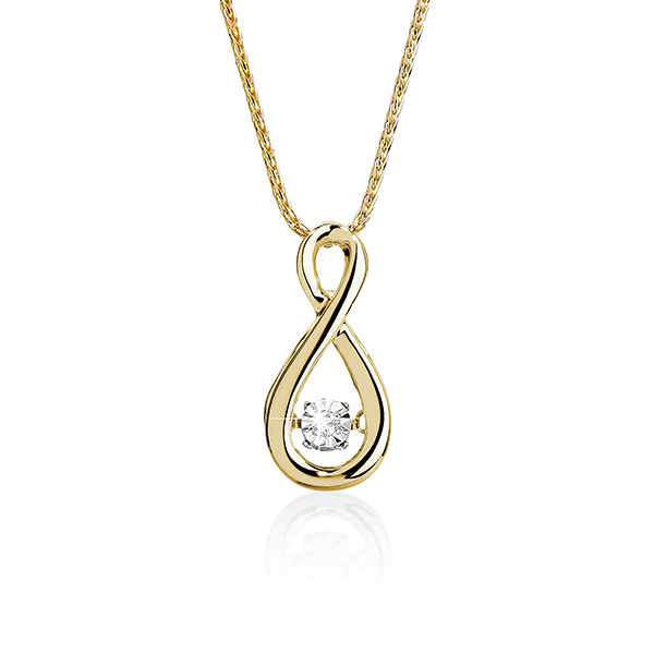 Dancing Diamonds 9 Carat Gold Infinity Pendant
