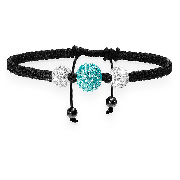 Aqua and White Crystal Shamballa Bracelet