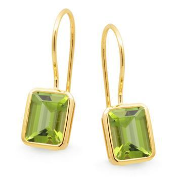 MMJ - Peridot Bezel Set Shepherd Hook Earring