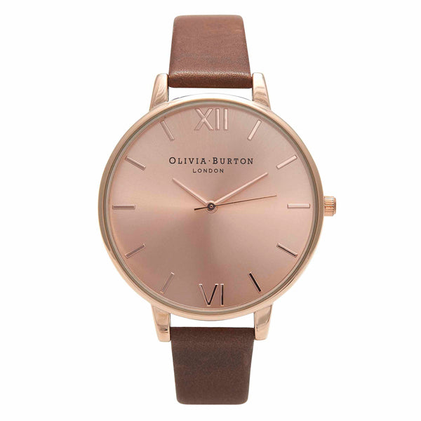Olivia Burton Big Dial Brown and Rose Gold Watch