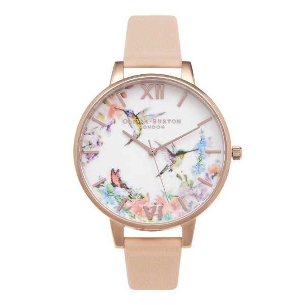 Olivia Burton Painterly Prints Hummingbird Nude Peach & Rose Gold Watch