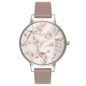 Olivia Burton Parlour Blossom Birds Iced Coffee, Silver & Rose Gold Watch