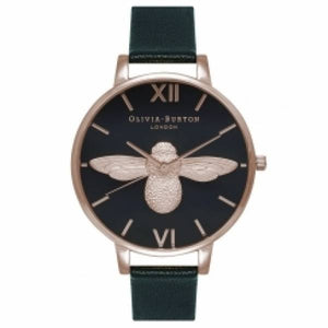 Olivia Burton 3D Bee Black Dial & Rose Gold Watch