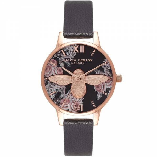 Olivia Burton 3D Bee Botanical Black & Rose Gold Watch
