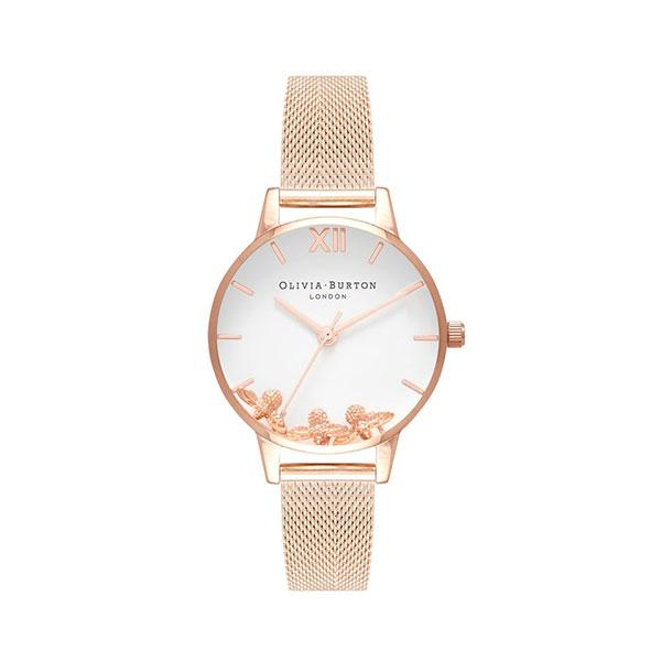 Olivia Burton Busy Bees Rose Gold Mesh Watch