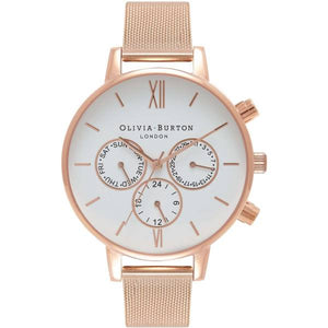 Olivia Burton Chrono Detail Rose Gold Mesh Watch