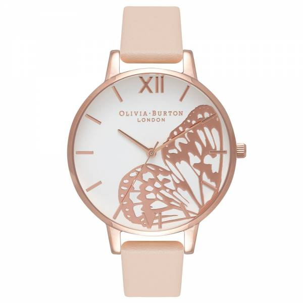 Olivia Burton Applied Wing Nude Peach & Rose Gold Watch