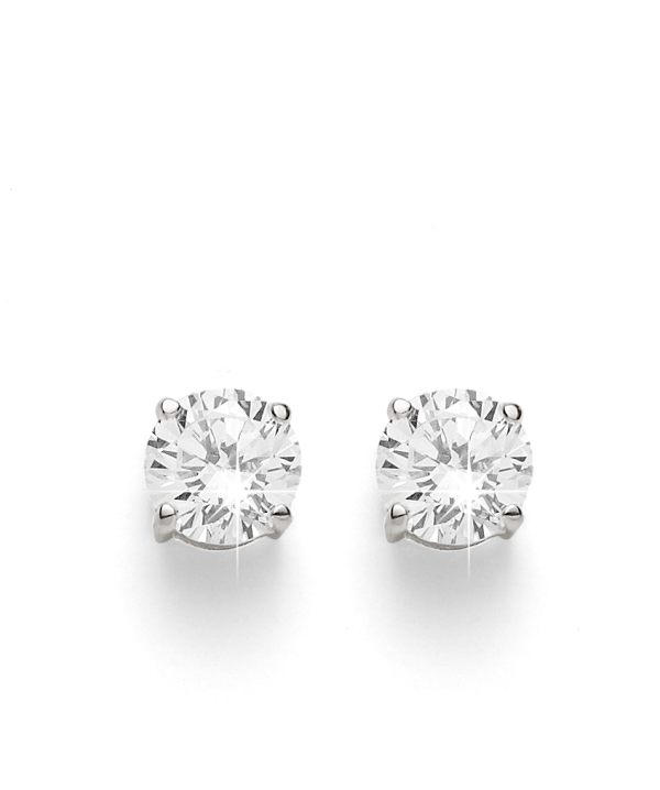 Sterling Silver 5mm Cubic Zirconia Studs