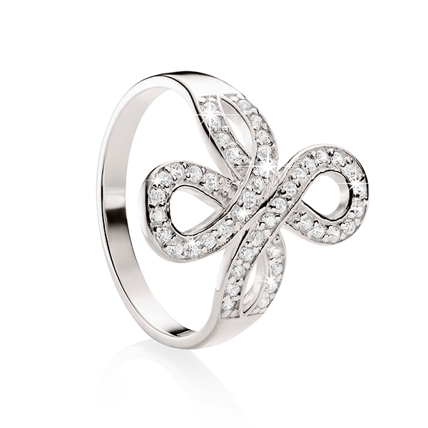 Sterling Silver Cubic Zirconia Scroll Ring