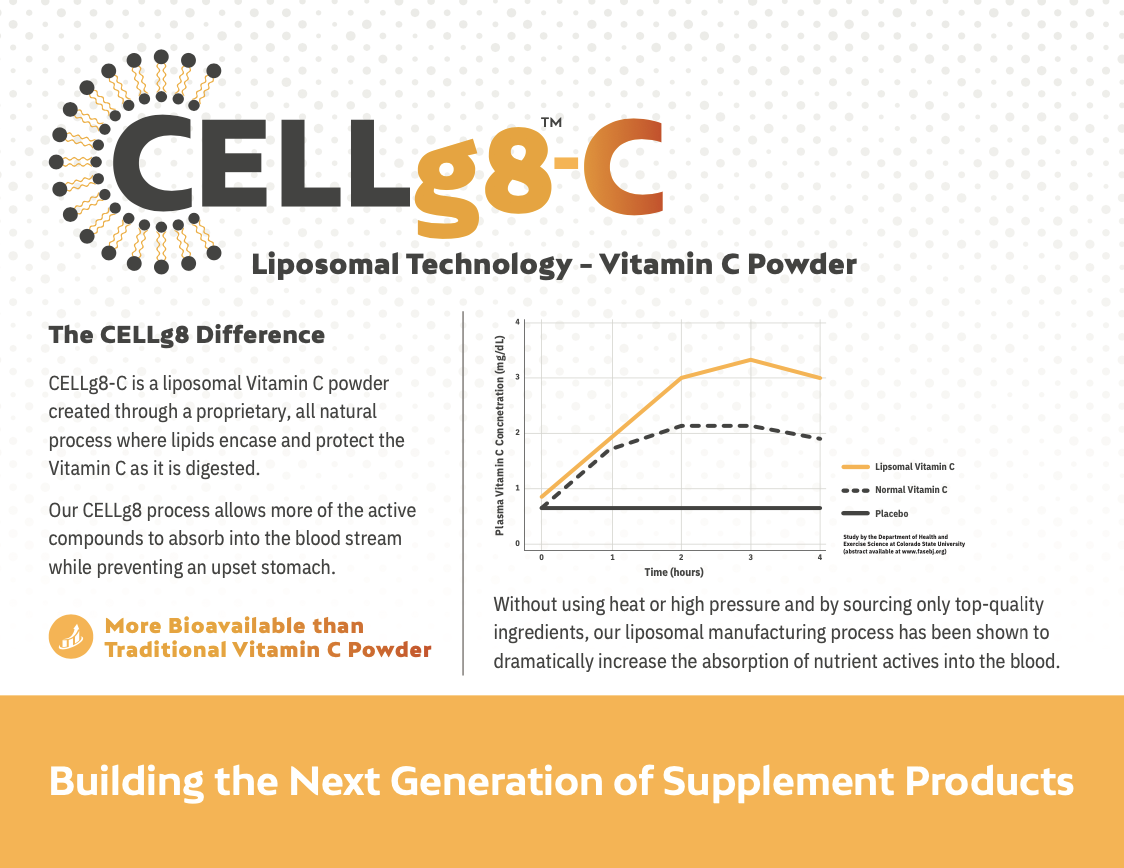 CELLg8 - C Liposomal Vitamin C Delivery System with chart