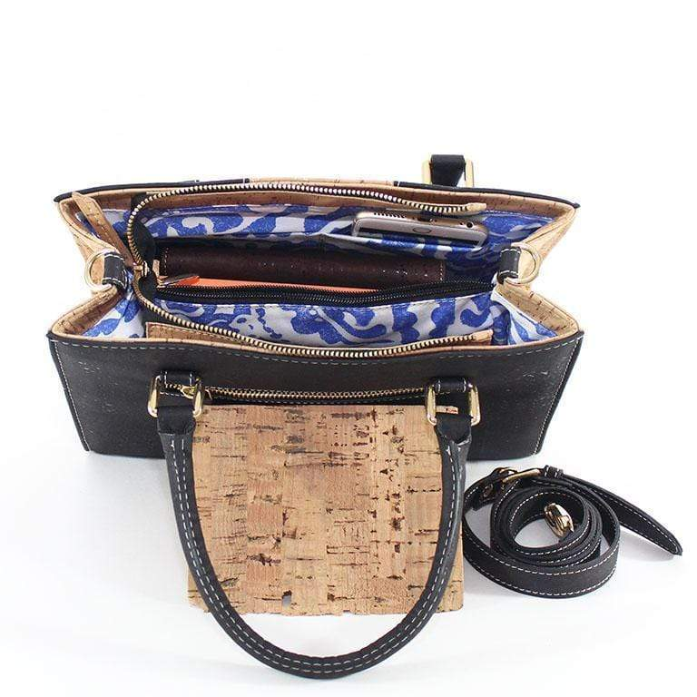 Carolyna Cork Purse |  Black/Natural - [rokcork]