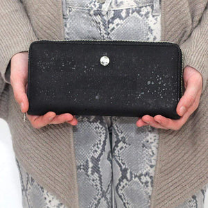 ladies cork wallet in black made in portugal