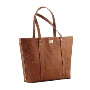 cork handbag, purse, tote made in portugal in camel cork