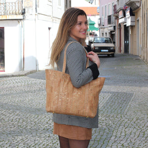Carminda Cork Handbag | Natural Gold Ladies Handbags Rok Cork