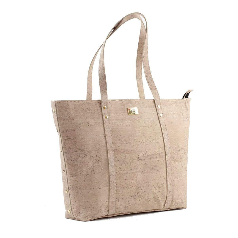 cork handbag tote in gorgeous winter white cork color