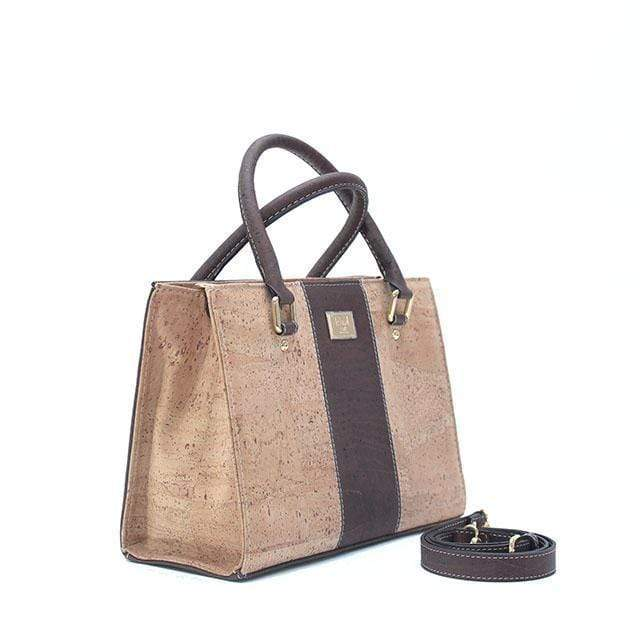 Ladies Handbags - Carolyna Cork Satchel Natural/Brown