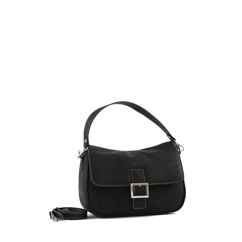 Francesca Cork Shoulder Purse | Black - [rokcork]