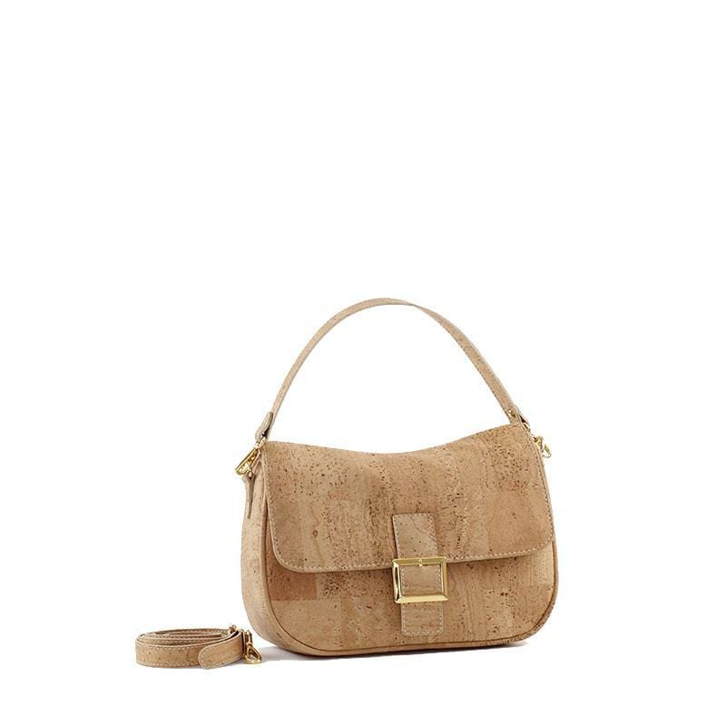 Francesca Cork Shoulder Purse | Natural - [rokcork]