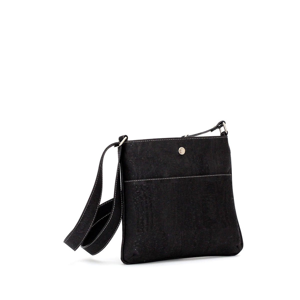cork purse in black cork sustainable fashion vegan handbags