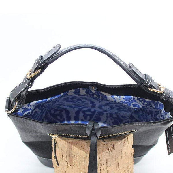 inside view  of luxe cork leather bag in black cork
